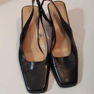 Bandolino Shoes - Bandolino Navy Leather Slingback Heels